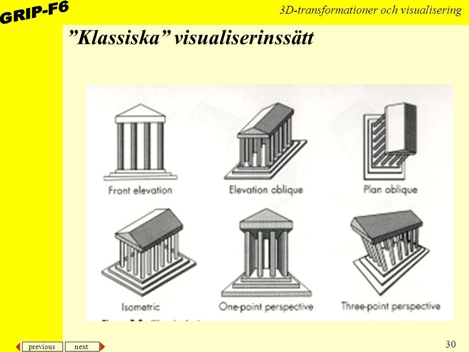 """previous next 30 3D-transformationer och visualisering """"Klassiska"""" visualiserinssätt"""