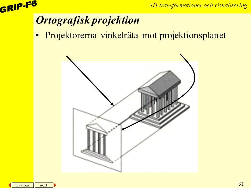 previous next 31 3D-transformationer och visualisering Ortografisk projektion Projektorerna vinkelräta mot projektionsplanet