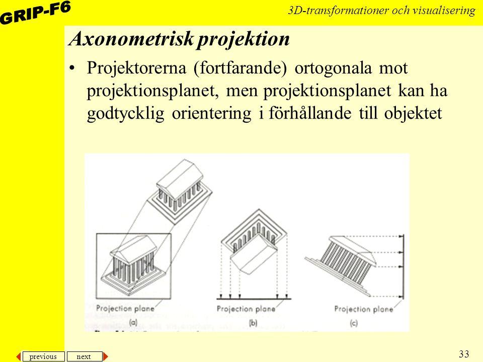 previous next 33 3D-transformationer och visualisering Axonometrisk projektion Projektorerna (fortfarande) ortogonala mot projektionsplanet, men proje