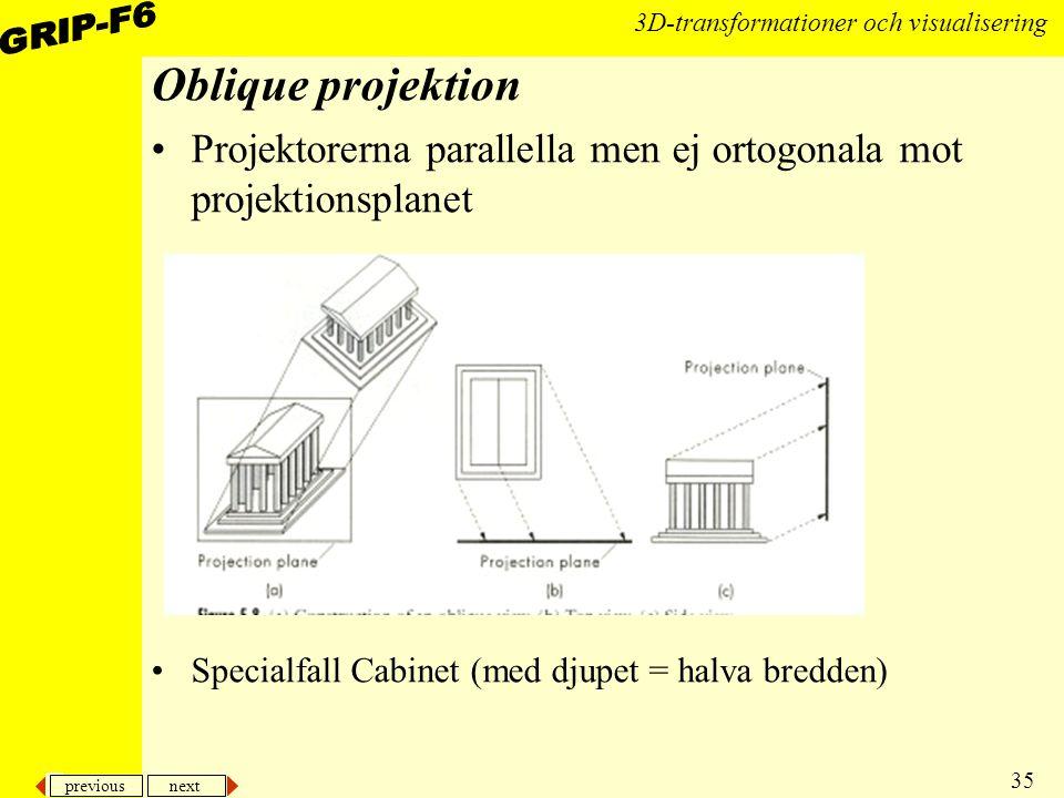 previous next 35 3D-transformationer och visualisering Oblique projektion Projektorerna parallella men ej ortogonala mot projektionsplanet Specialfall