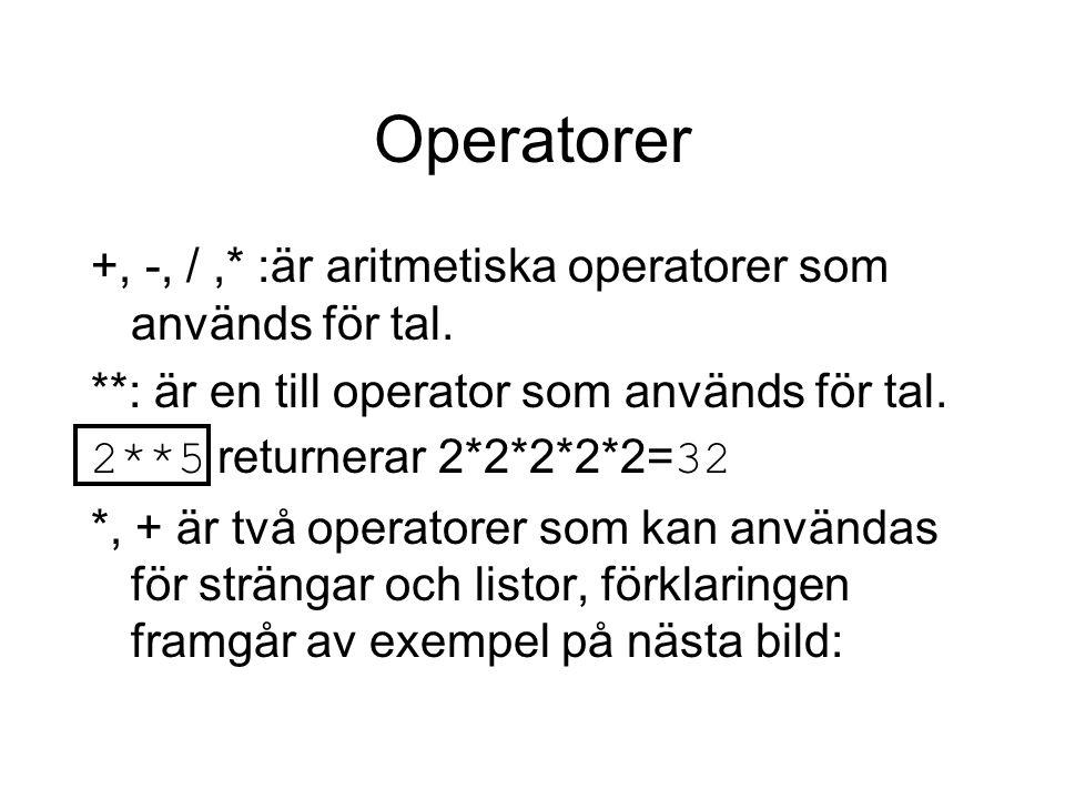 Operatorer +, -, /,* :är aritmetiska operatorer som används för tal. **: är en till operator som används för tal. 2**5 returnerar 2*2*2*2*2= 32 *, + ä