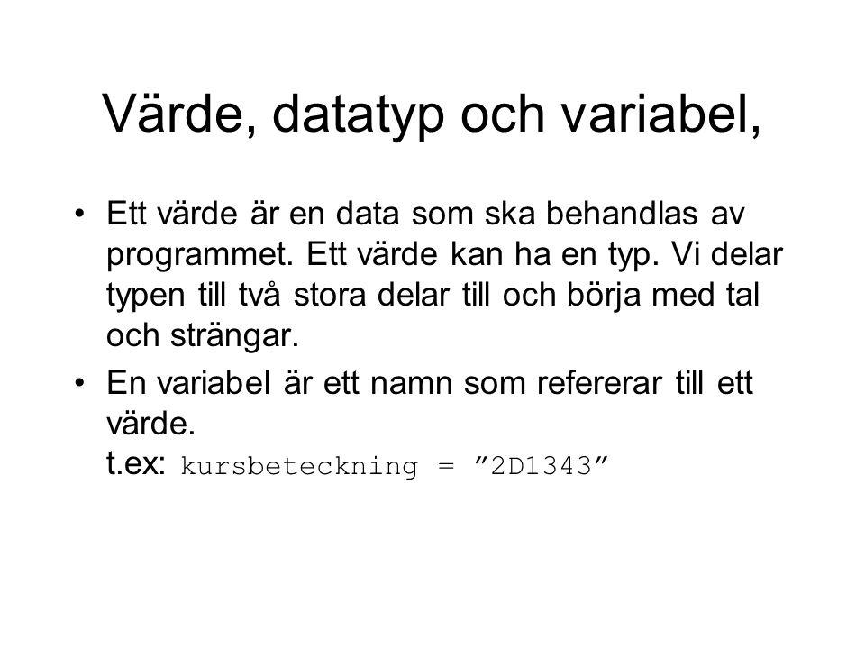 Värde, datatyp och variabel, Ett värde är en data som ska behandlas av programmet. Ett värde kan ha en typ. Vi delar typen till två stora delar till o