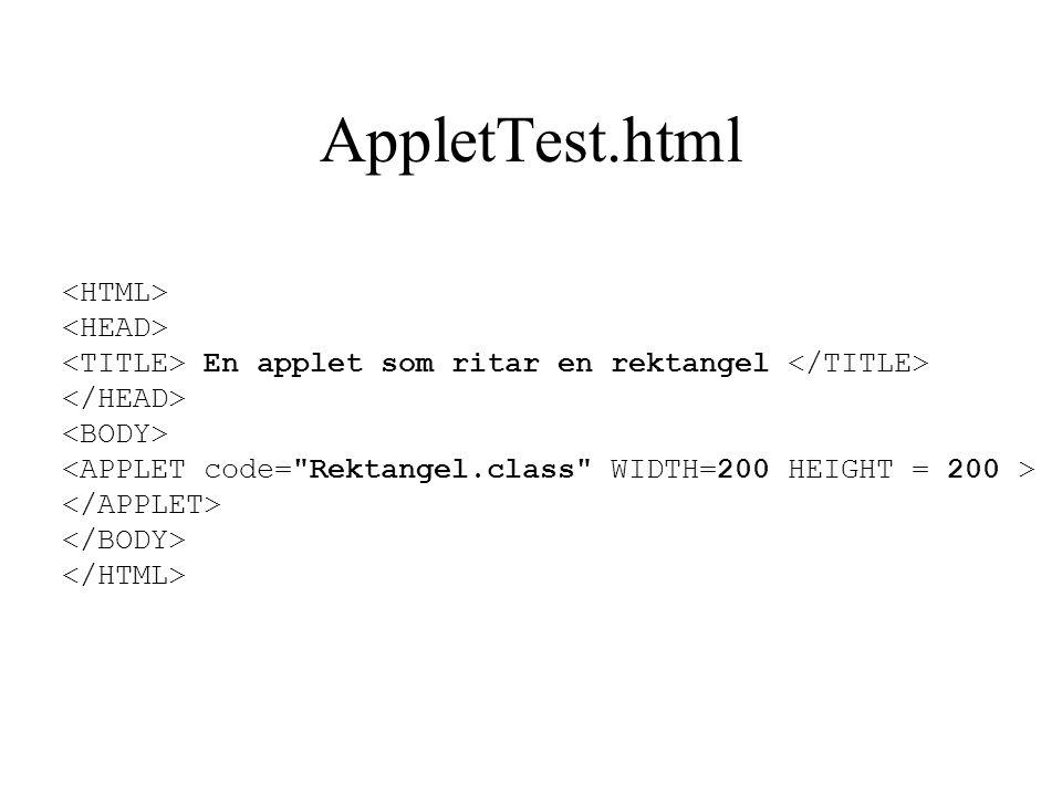 AppletTest.html En applet som ritar en rektangel