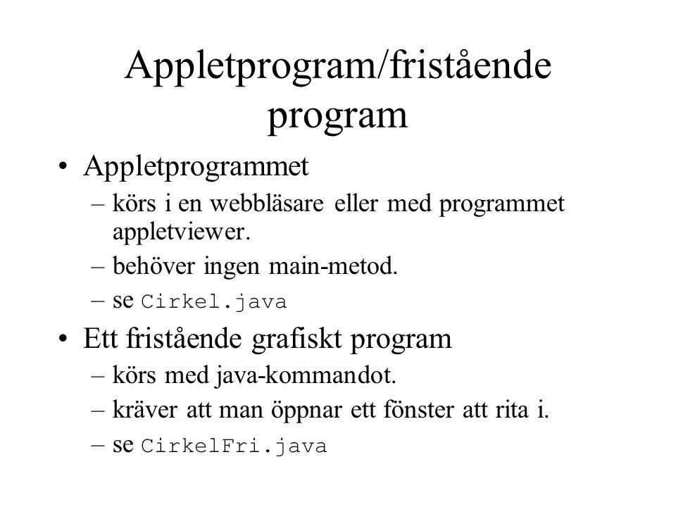 Appletprogram/fristående program Appletprogrammet –körs i en webbläsare eller med programmet appletviewer.
