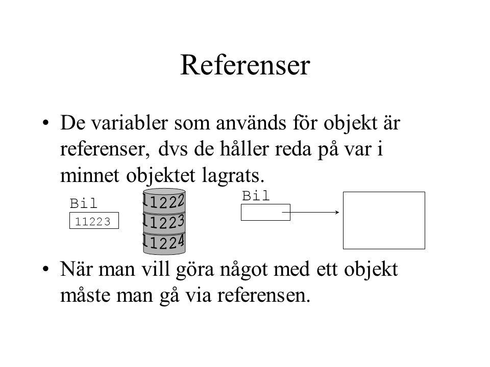 De variabler som används för objekt är referenser, dvs de håller reda på var i minnet objektet lagrats. När man vill göra något med ett objekt måste m