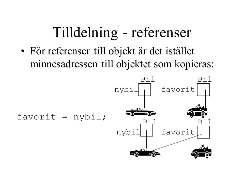 Tilldelning - referenser För referenser till objekt är det istället minnesadressen till objektet som kopieras: nybil favorit favorit = nybil; Bil