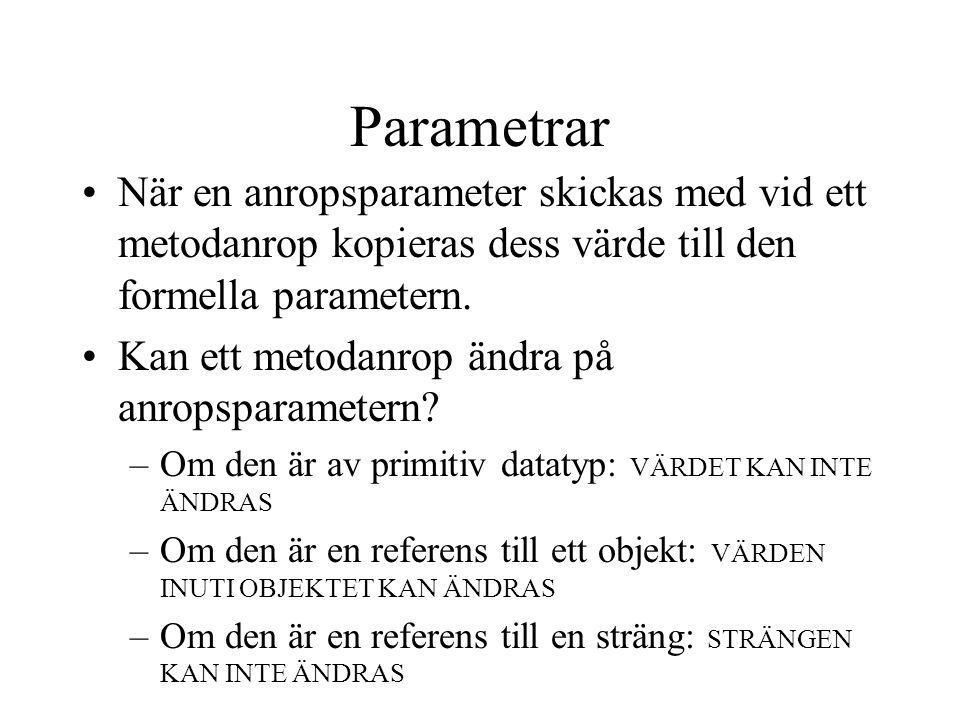 Parametrar När en anropsparameter skickas med vid ett metodanrop kopieras dess värde till den formella parametern. Kan ett metodanrop ändra på anropsp