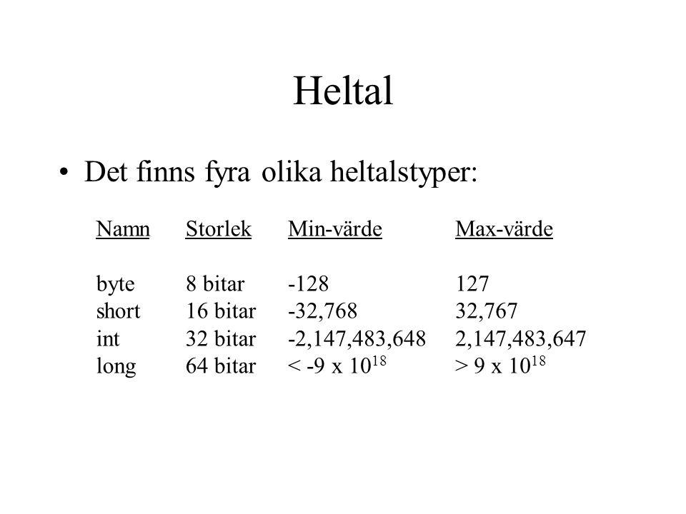 Heltal Det finns fyra olika heltalstyper: Namn byte short int long Storlek 8 bitar 16 bitar 32 bitar 64 bitar Min-värde -128 -32,768 -2,147,483,648 < -9 x 10 18 Max-värde 127 32,767 2,147,483,647 > 9 x 10 18