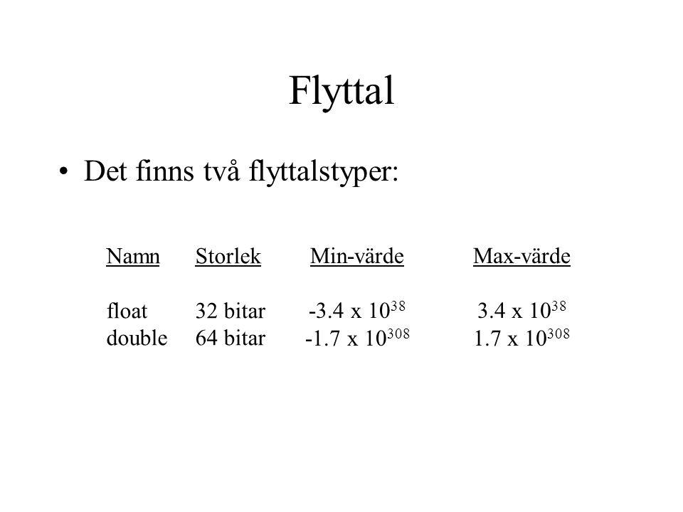 Flyttal Det finns två flyttalstyper: Namn float double Storlek 32 bitar 64 bitar Min-värde -3.4 x 10 38 -1.7 x 10 308 Max-värde 3.4 x 10 38 1.7 x 10 308