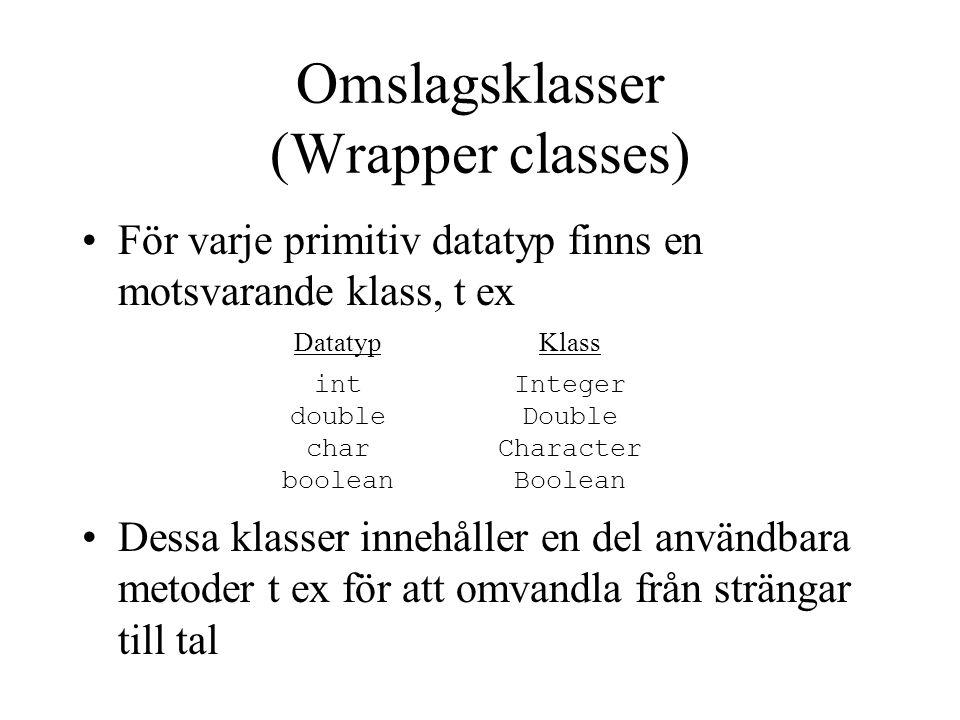 Omslagsklasser (Wrapper classes) För varje primitiv datatyp finns en motsvarande klass, t ex Dessa klasser innehåller en del användbara metoder t ex för att omvandla från strängar till tal Datatyp int double char boolean Klass Integer Double Character Boolean
