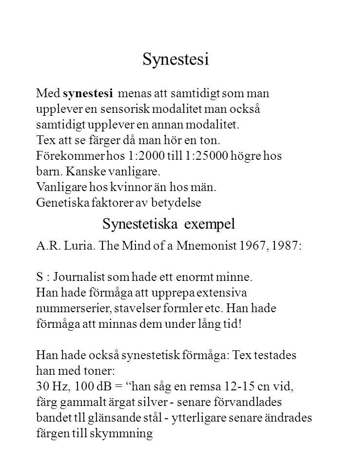 Synestesi A.R. Luria. The Mind of a Mnemonist 1967, 1987: S : Journalist som hade ett enormt minne. Han hade förmåga att upprepa extensiva nummerserie