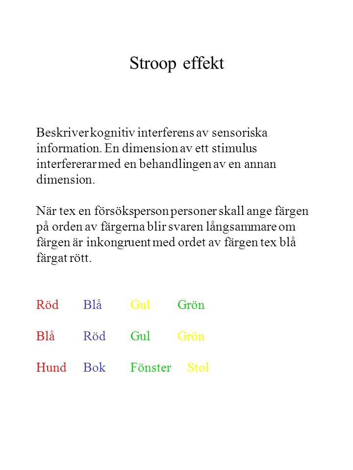 Stroop effekt Beskriver kognitiv interferens av sensoriska information. En dimension av ett stimulus interfererar med en behandlingen av en annan dime
