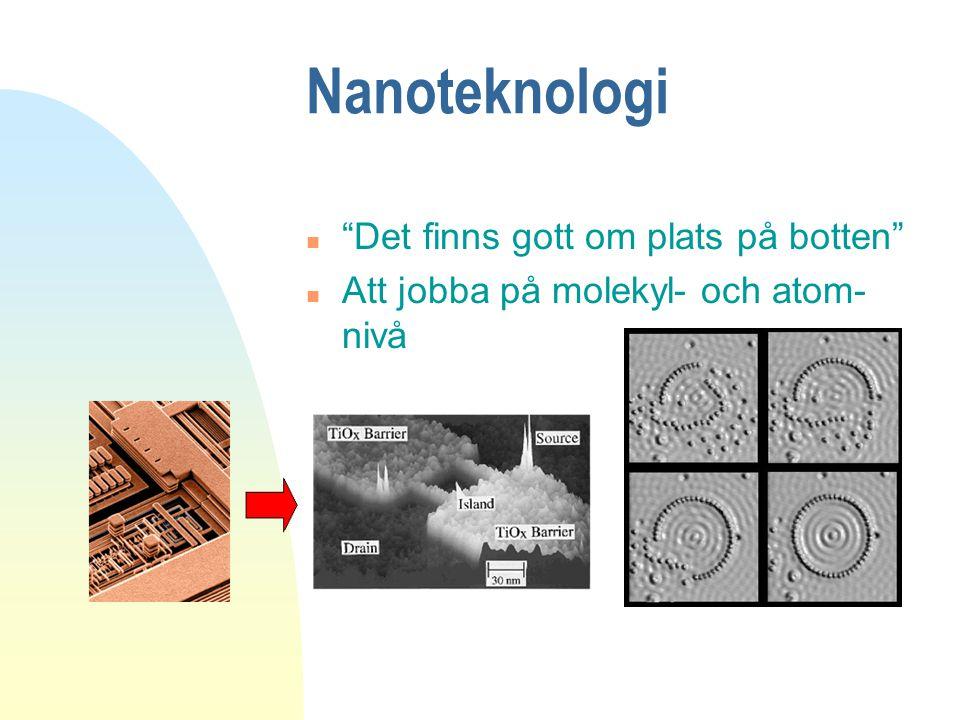"""Nanoteknologi n """"Det finns gott om plats på botten"""" n Att jobba på molekyl- och atom- nivå"""