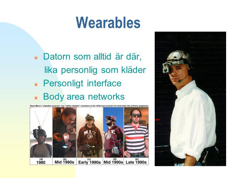 Wearables n Datorn som alltid är där, lika personlig som kläder n Personligt interface n Body area networks