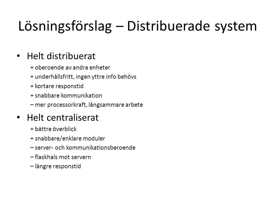 Lösningsförslag – Distribuerade system Helt distribuerat + oberoende av andra enheter + underhållsfritt, ingen yttre info behövs + kortare responstid + snabbare kommunikation – mer processorkraft, långsammare arbete Helt centraliserat + bättre överblick + snabbare/enklare moduler – server- och kommunikationsberoende – flaskhals mot servern – längre responstid