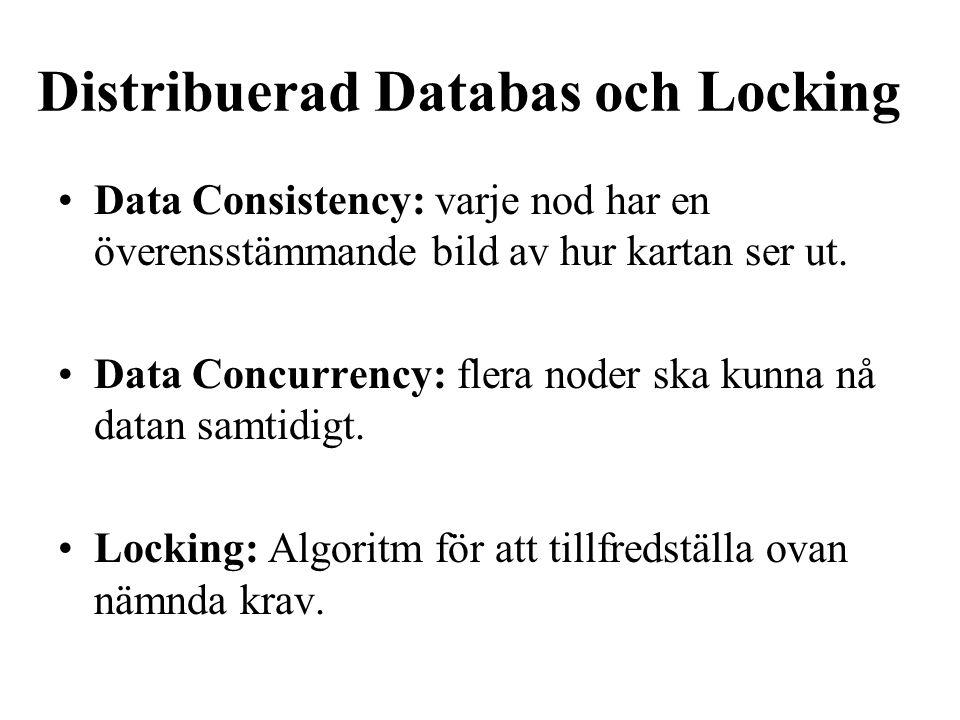 Distribuerad Databas och Locking Data Consistency: varje nod har en överensstämmande bild av hur kartan ser ut. Data Concurrency: flera noder ska kunn