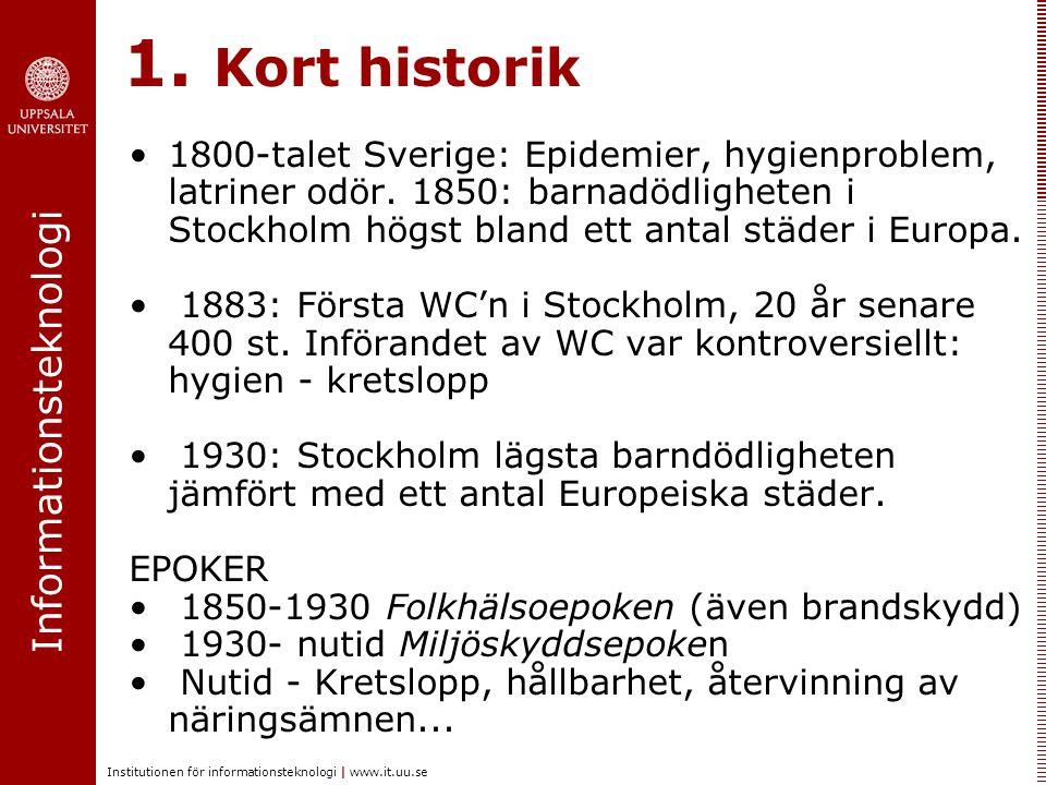 Informationsteknologi Institutionen för informationsteknologi | www.it.uu.se 1. Kort historik 1800-talet Sverige: Epidemier, hygienproblem, latriner o