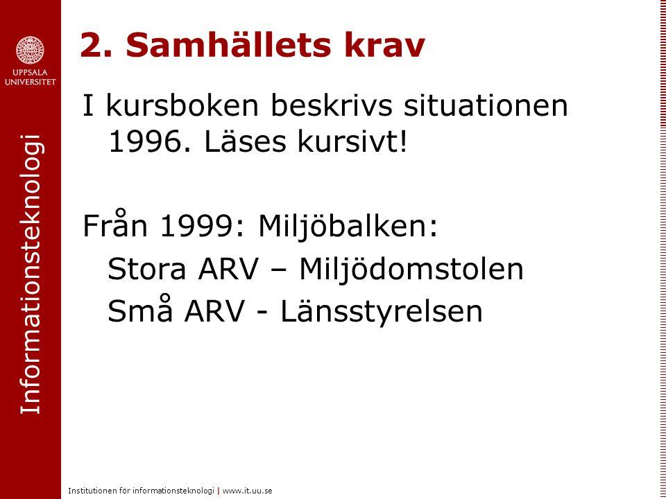 Informationsteknologi Institutionen för informationsteknologi   www.it.uu.se 2. Samhällets krav I kursboken beskrivs situationen 1996. Läses kursivt!