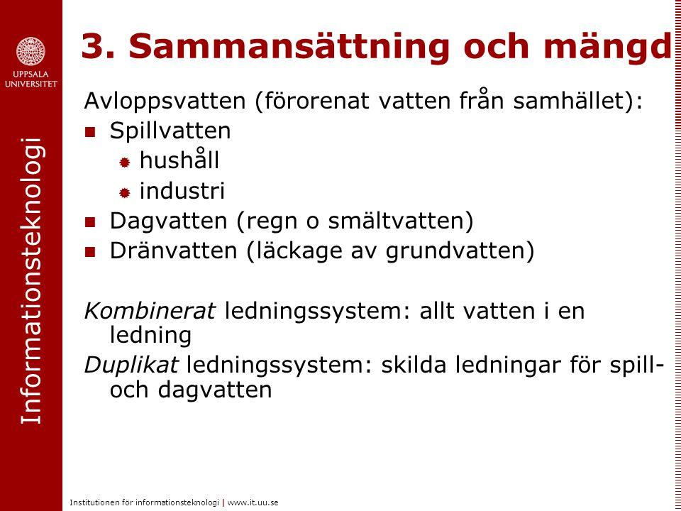 Informationsteknologi Institutionen för informationsteknologi   www.it.uu.se 3. Sammansättning och mängd Avloppsvatten (förorenat vatten från samhälle