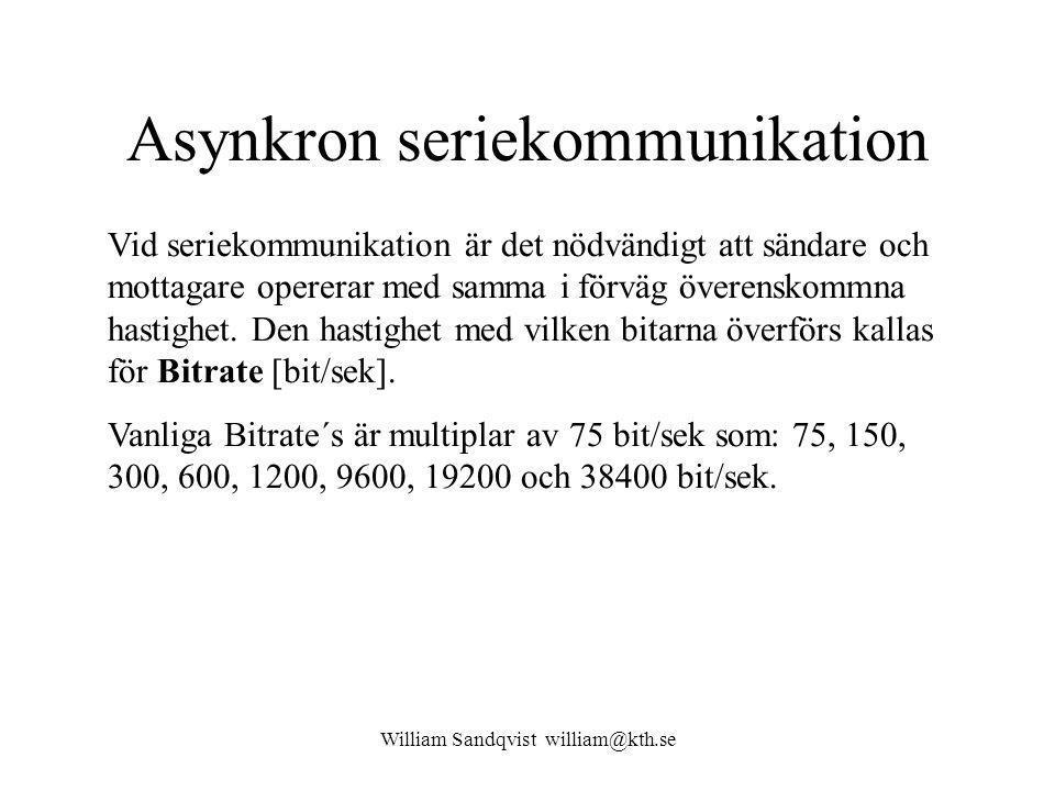 William Sandqvist william@kth.se Asynkron seriekommunikation Vid seriekommunikation är det nödvändigt att sändare och mottagare opererar med samma i förväg överenskommna hastighet.