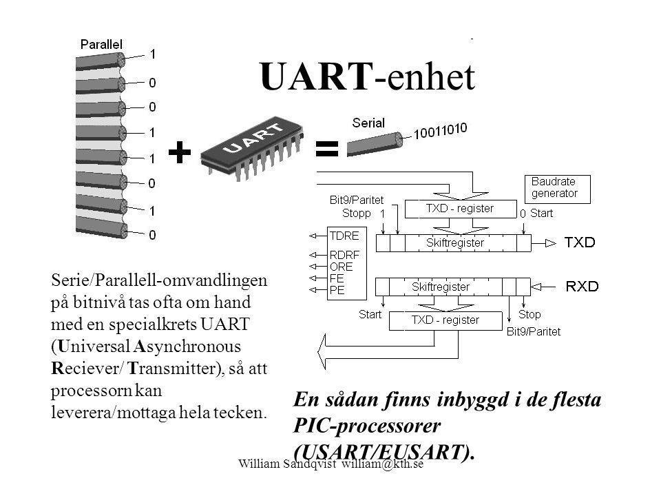 William Sandqvist william@kth.se UART-enhet Serie/Parallell-omvandlingen på bitnivå tas ofta om hand med en specialkrets UART (Universal Asynchronous Reciever/ Transmitter), så att processorn kan leverera/mottaga hela tecken.