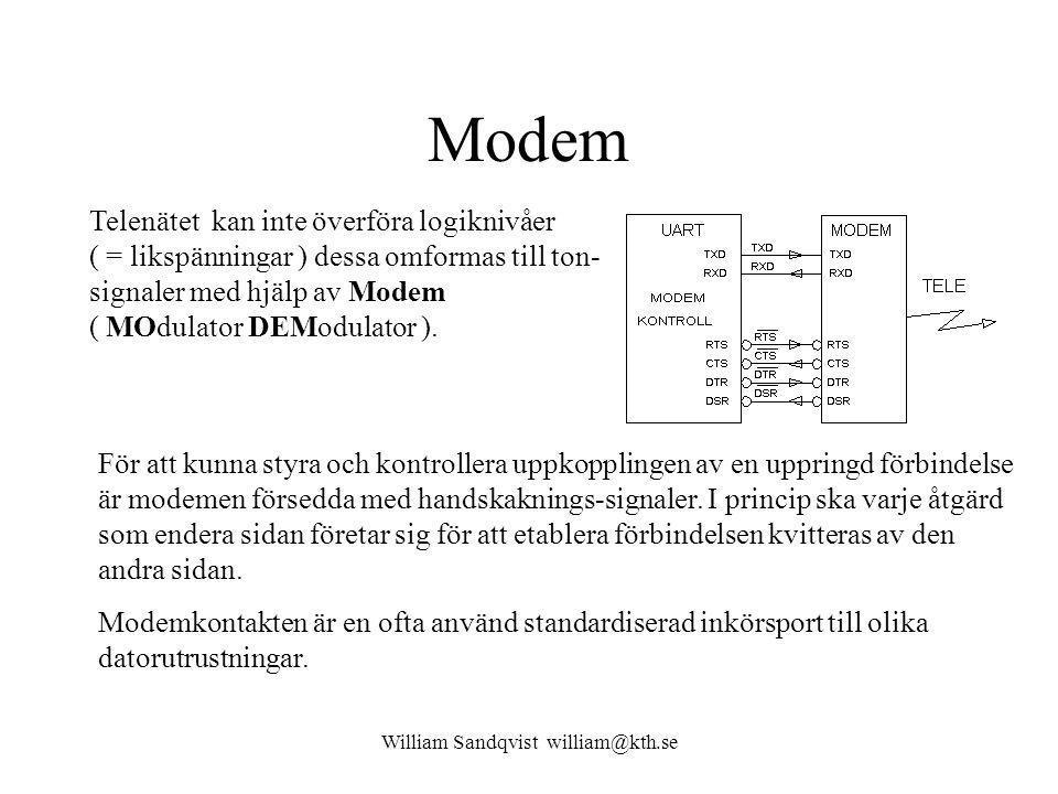 William Sandqvist william@kth.se Modem För att kunna styra och kontrollera uppkopplingen av en uppringd förbindelse är modemen försedda med handskaknings-signaler.