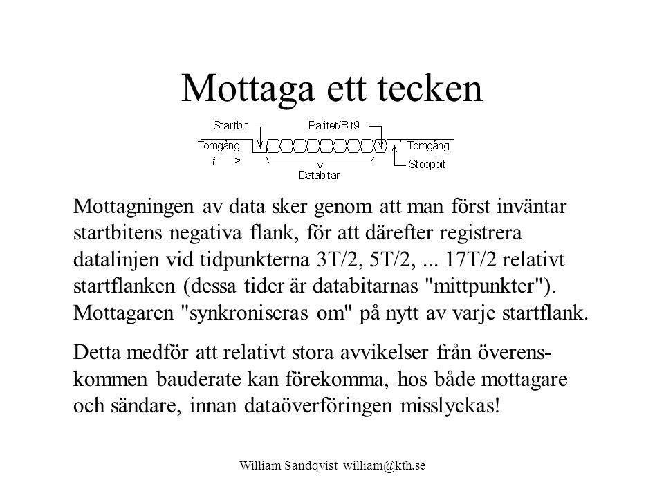 William Sandqvist william@kth.se Mottaga ett tecken Mottagningen av data sker genom att man först inväntar startbitens negativa flank, för att därefter registrera datalinjen vid tidpunkterna 3T/2, 5T/2,...