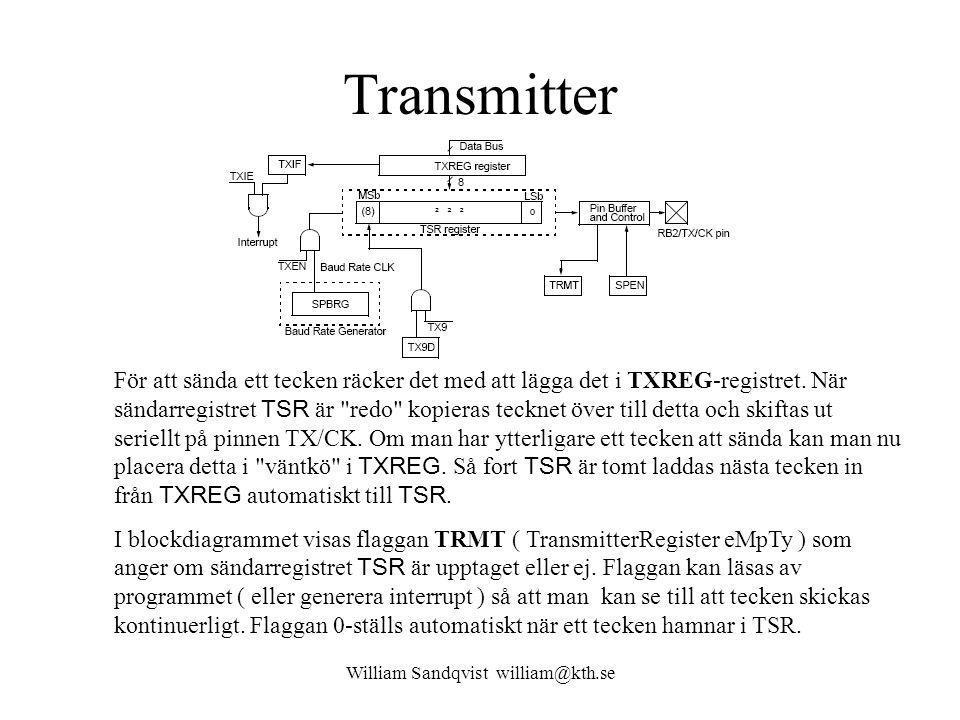 William Sandqvist william@kth.se Transmitter För att sända ett tecken räcker det med att lägga det i TXREG-registret.