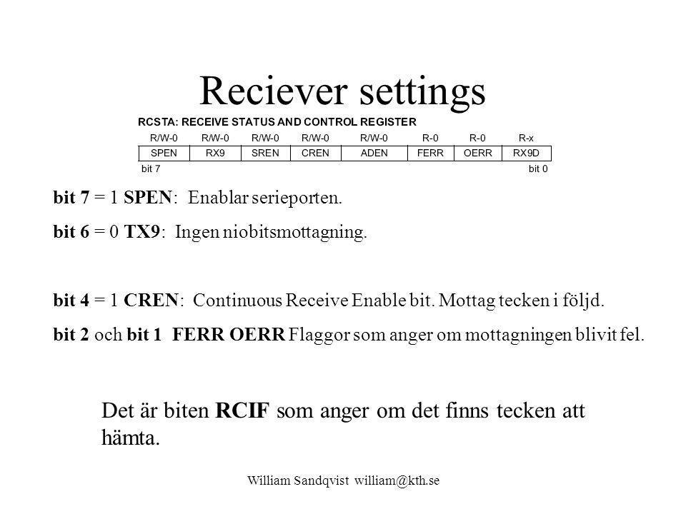 William Sandqvist william@kth.se Reciever settings bit 7 = 1 SPEN: Enablar serieporten.