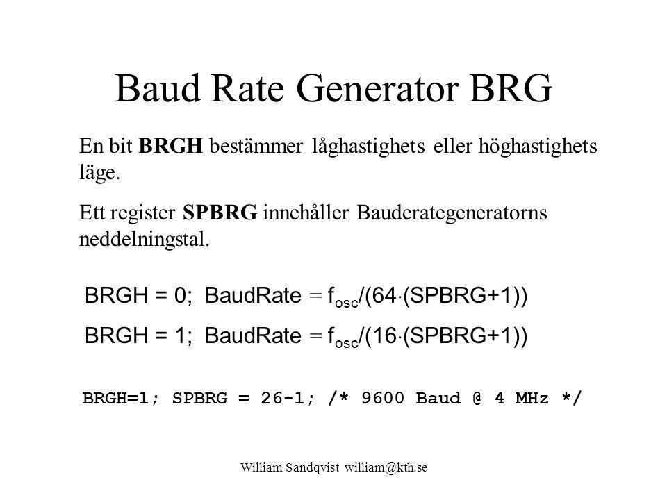 William Sandqvist william@kth.se Baud Rate Generator BRG En bit BRGH bestämmer låghastighets eller höghastighets läge.