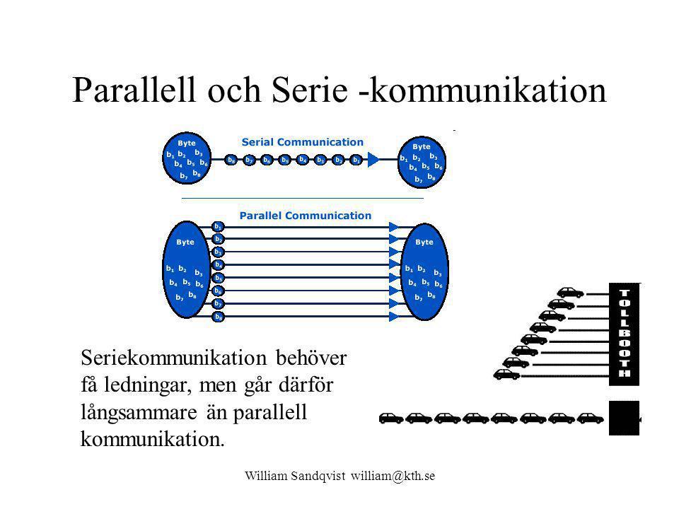 William Sandqvist william@kth.se Parallell och Serie -kommunikation Seriekommunikation behöver få ledningar, men går därför långsammare än parallell kommunikation.