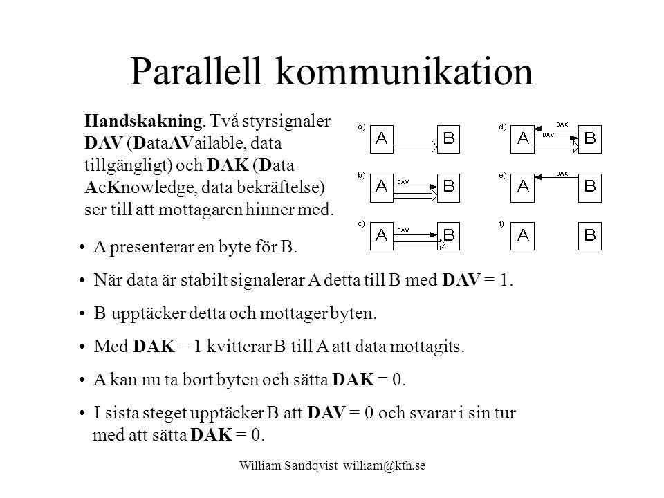 William Sandqvist william@kth.se Parallell kommunikation Handskakning. Två styrsignaler DAV (DataAVailable, data tillgängligt) och DAK (Data AcKnowled