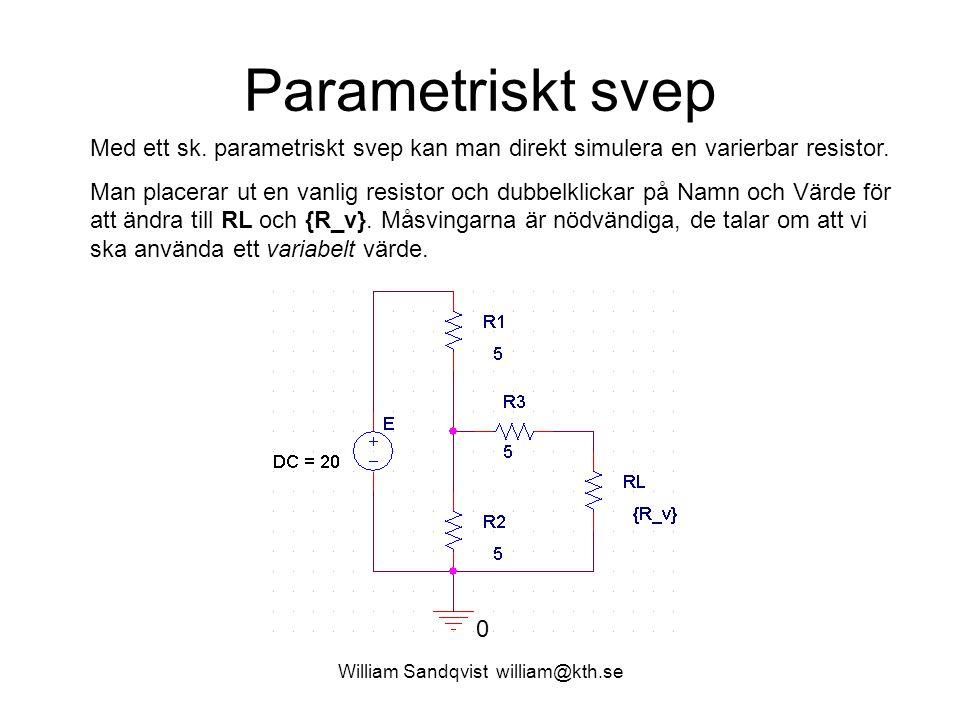 William Sandqvist william@kth.se Parametriskt svep Med ett sk. parametriskt svep kan man direkt simulera en varierbar resistor. Man placerar ut en van