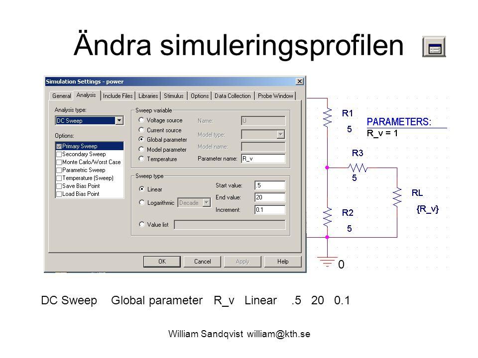 William Sandqvist william@kth.se Ändra simuleringsprofilen DC Sweep Global parameter R_v Linear.5 20 0.1 0