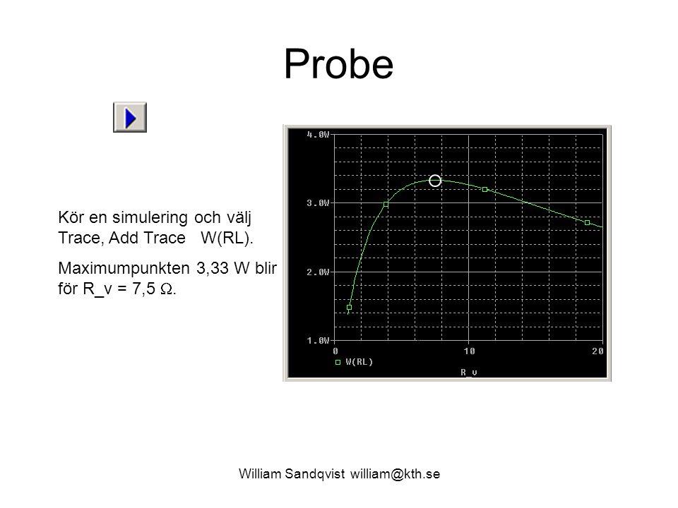 William Sandqvist william@kth.se Probe Kör en simulering och välj Trace, Add Trace W(RL). Maximumpunkten 3,33 W blir för R_v = 7,5 .