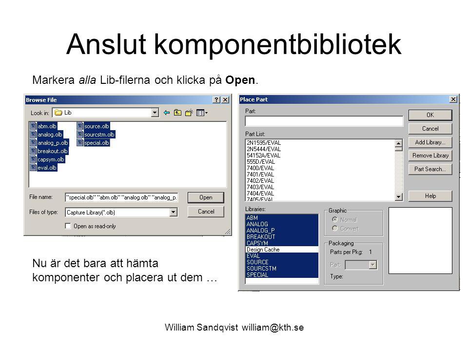 William Sandqvist william@kth.se Anslut komponentbibliotek Markera alla Lib-filerna och klicka på Open. Nu är det bara att hämta komponenter och place