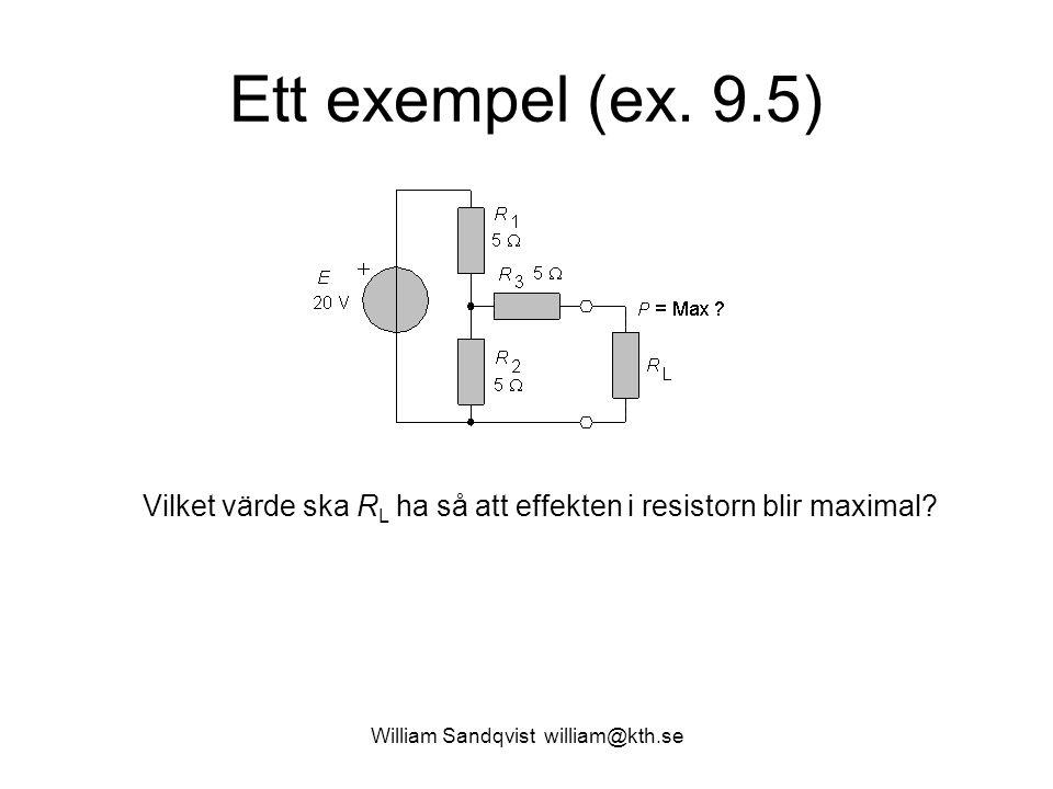 William Sandqvist william@kth.se Ett exempel (ex. 9.5) Vilket värde ska R L ha så att effekten i resistorn blir maximal?