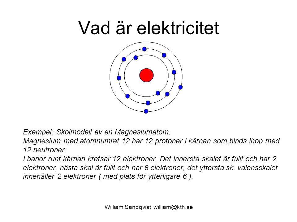 William Sandqvist william@kth.se Vad är elektricitet Exempel: Skolmodell av en Magnesiumatom.