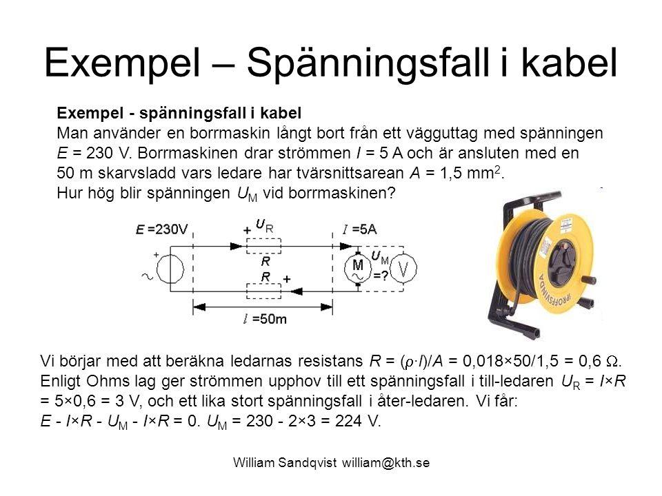 Exempel – Spänningsfall i kabel Exempel - spänningsfall i kabel Man använder en borrmaskin långt bort från ett vägguttag med spänningen E = 230 V.