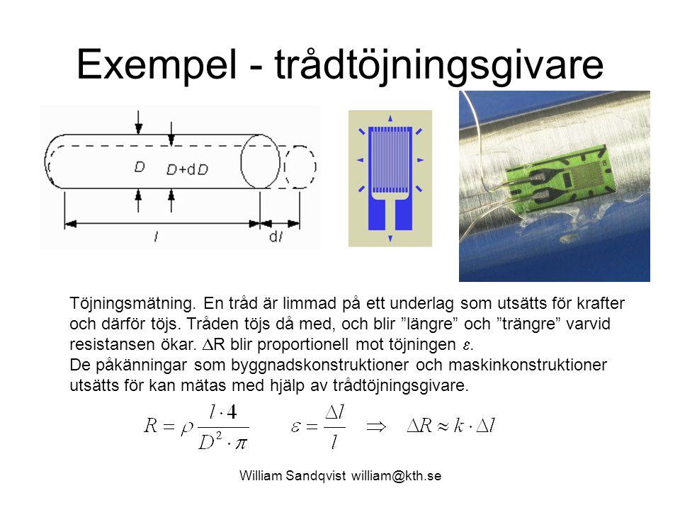 Exempel - trådtöjningsgivare Töjningsmätning.