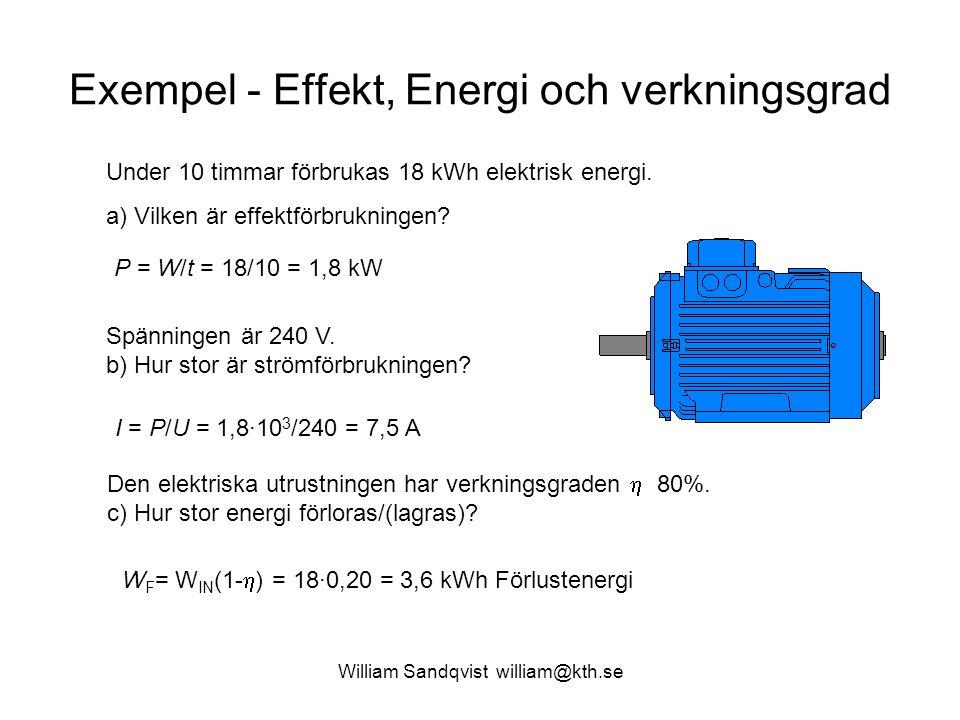 William Sandqvist william@kth.se Exempel - Effekt, Energi och verkningsgrad Under 10 timmar förbrukas 18 kWh elektrisk energi.