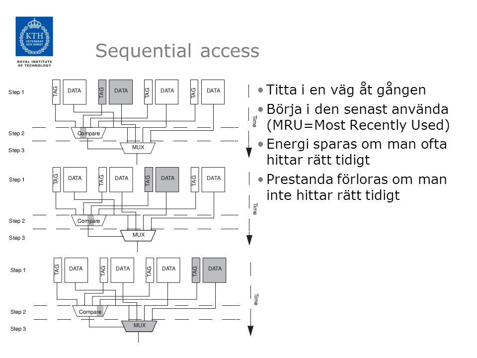 Sequential access Titta i en väg åt gången Börja i den senast använda (MRU=Most Recently Used) Energi sparas om man ofta hittar rätt tidigt Prestanda förloras om man inte hittar rätt tidigt