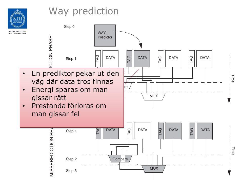 Way prediction En prediktor pekar ut den väg där data tros finnas Energi sparas om man gissar rätt Prestanda förloras om man gissar fel En prediktor pekar ut den väg där data tros finnas Energi sparas om man gissar rätt Prestanda förloras om man gissar fel