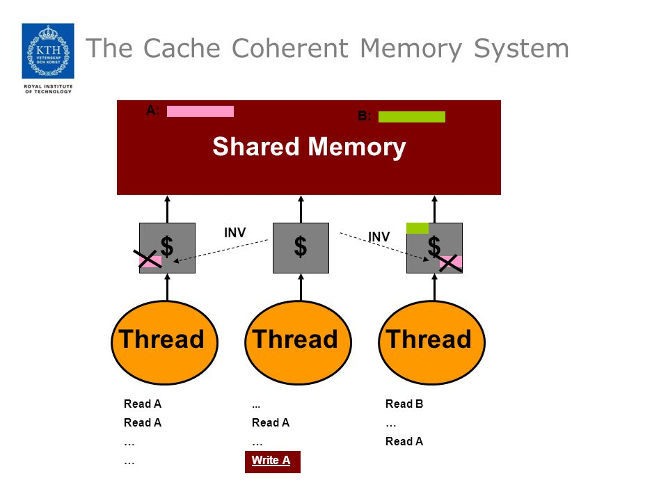 The Cache Coherent Memory System Shared Memory Thread $ $ $ Read A … A:...