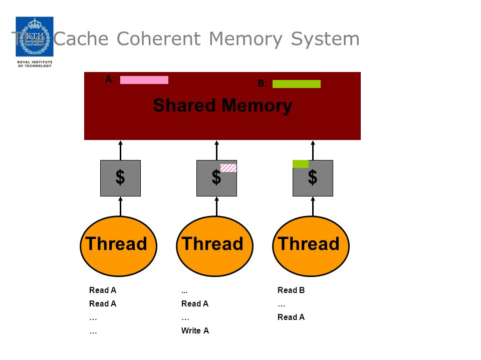 The Cache Coherent Memory System Shared Memory Thread $ $ $ Read A … A:... Read A … Write A B: Read B … Read A