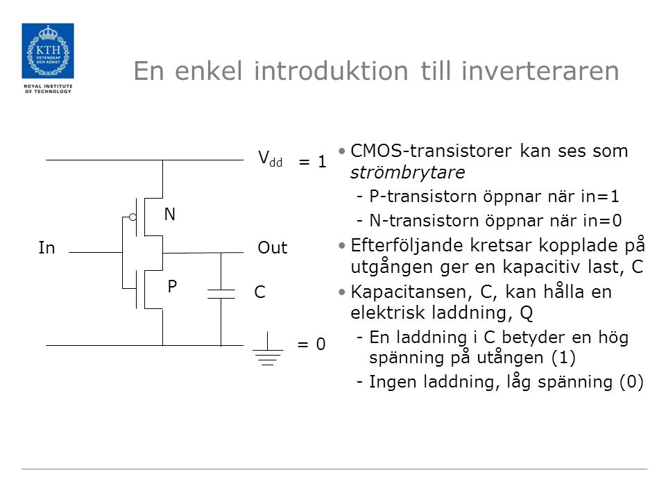 En enkel introduktion till inverteraren CMOS-transistorer kan ses som strömbrytare -P-transistorn öppnar när in=1 -N-transistorn öppnar när in=0 Efterföljande kretsar kopplade på utgången ger en kapacitiv last, C Kapacitansen, C, kan hålla en elektrisk laddning, Q -En laddning i C betyder en hög spänning på utången (1) -Ingen laddning, låg spänning (0) V dd InOut = 0 = 1 C N P