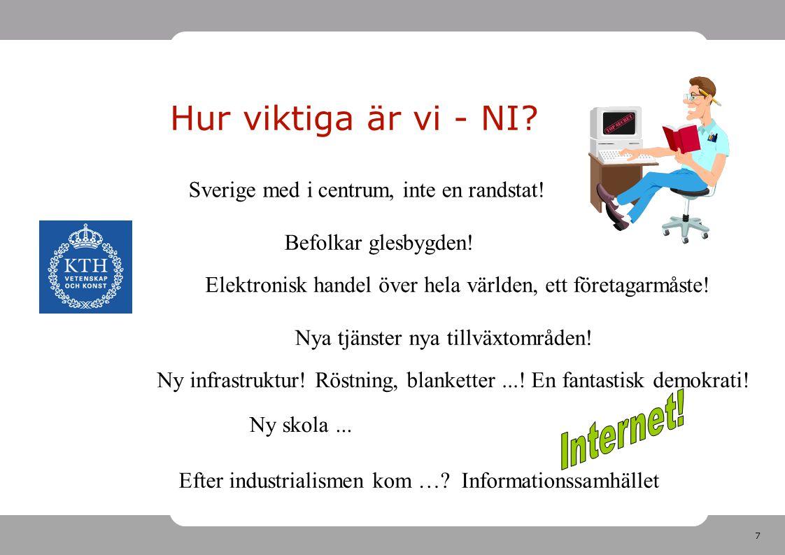 7 Hur viktiga är vi - NI? Sverige med i centrum, inte en randstat! Befolkar glesbygden! Elektronisk handel över hela världen, ett företagarmåste! Nya