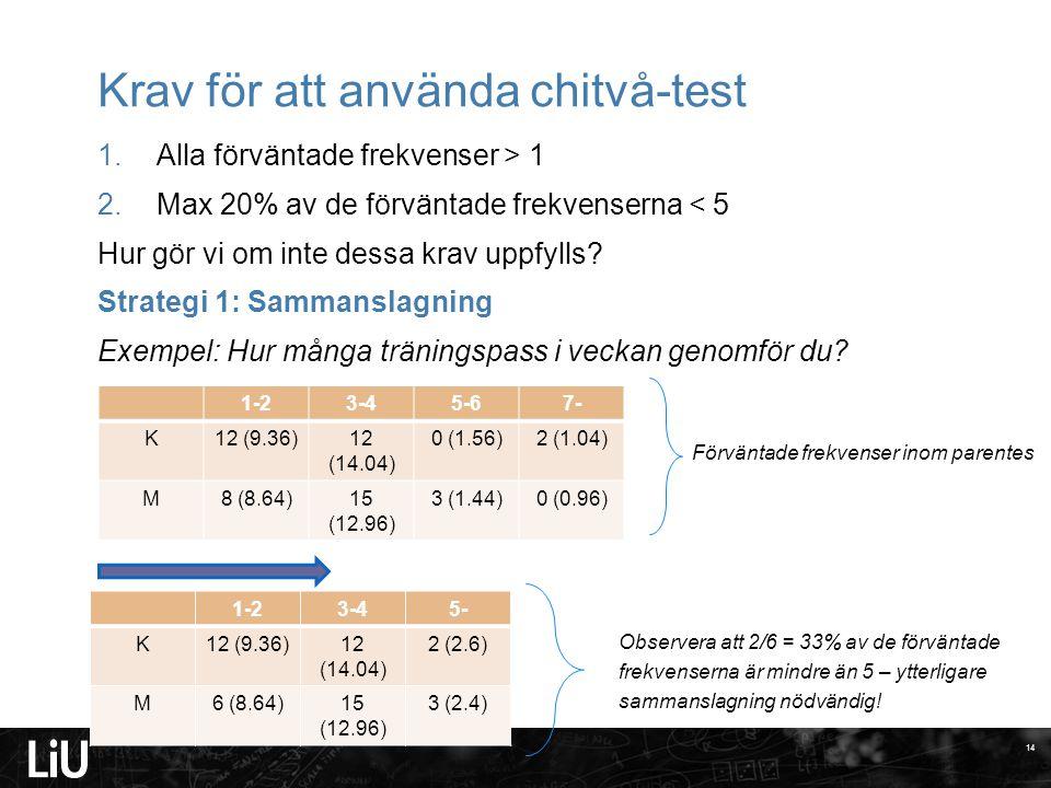 Krav för att använda chitvå-test 1.Alla förväntade frekvenser > 1 2.Max 20% av de förväntade frekvenserna < 5 Hur gör vi om inte dessa krav uppfylls?