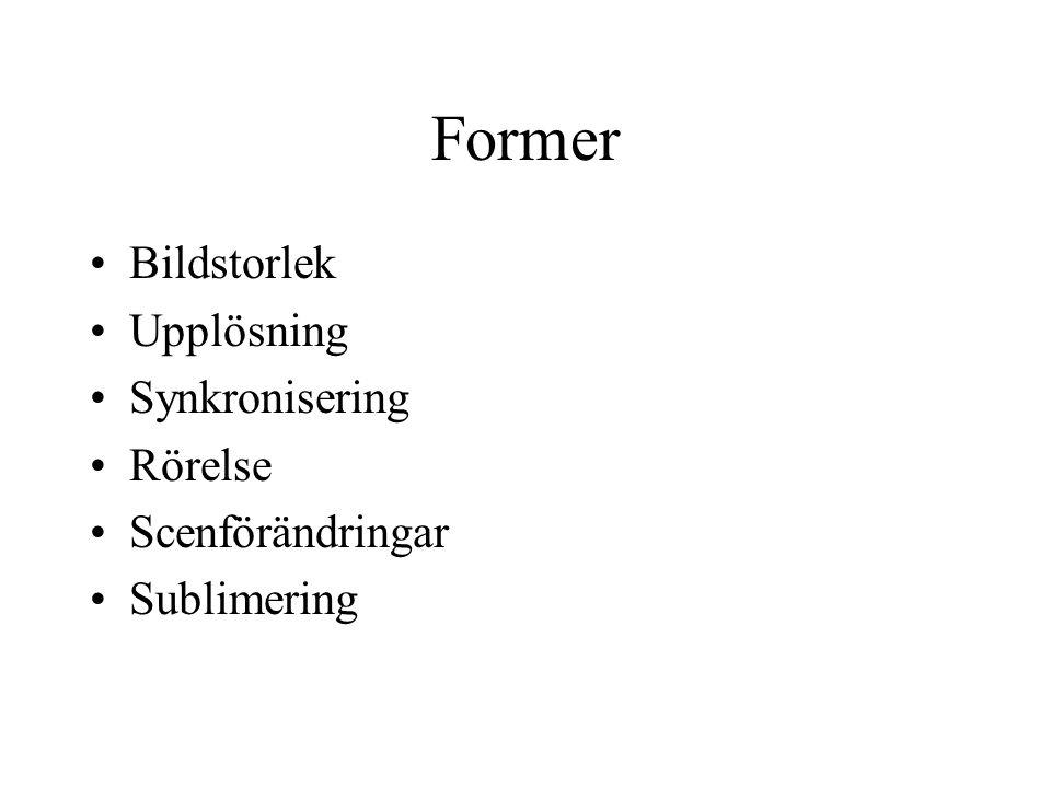 Former Bildstorlek Upplösning Synkronisering Rörelse Scenförändringar Sublimering
