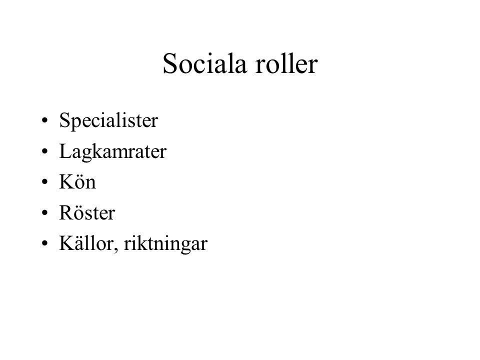 Sociala roller Specialister Lagkamrater Kön Röster Källor, riktningar